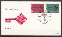 BELGIE : 1452-3 – FDC – Europe CEPT 1968 - 1961-70