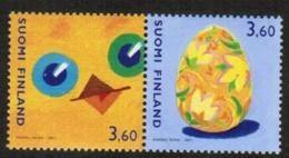 2001 Finland, Michel 1560-1 Easter Pair MNH. - Ongebruikt