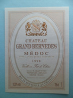 Etiquette Vin Chateau Grand BERNEDES MEDOC 1998 GILLET à BEGADAn Gironde - Bordeaux