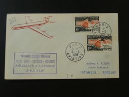 Lettre Premier Vol First Flight Cover Paris --> Istanbul Turquie Caravelle Air France 1959 Ref 101480 - Eerste Vluchten