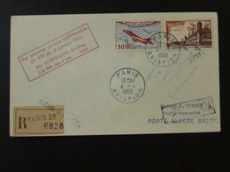 Lettre Premier Vol First Flight Cover Paris --> Porto Alegre Brazil 1958 Lufthansa Ref 101485 - Eerste Vluchten
