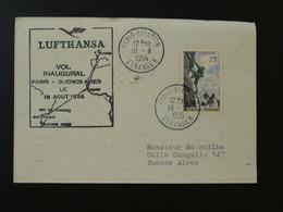 75F Alpinisme Sur Lettre Premier Vol First Flight Cover Paris --> Buenos Aires Argentina 1956 Lufthansa Ref 101487 - Eerste Vluchten