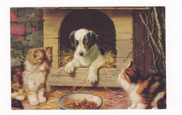 Ravissante CPA Illustrée Chats Chien Dans Sa Niche Série 503 Photo Chrom - Chiens