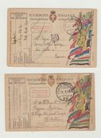 FRANCHIGIA LOTTO DI 2 CARTOLINE POSTA MILITARE 90 DEL 1919 VIAGGIATE WW1 - Franchise