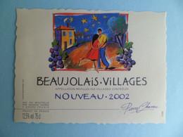 Etiquette Vin Beaujolais Villages Nouveau 2002 Maison Thorin - Rhone - Pierre Charau - Beaujolais