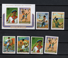Guinea 1974 Michel 706-711B, Block 37B Scouts Set Of 6 + S/s Imperf. MNH - Unused Stamps