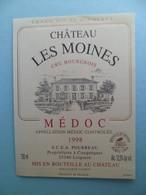 Etiquette Vin Chateau LES MOINES Cru Bourgeois MEDOC 1998 - Couqueres  LESPARRE Gironde - Bordeaux