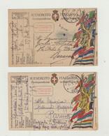FRANCHIGIA LOTTO DI 2 CARTOLINE POSTA MILITARE 263 DEL 1918/19 WW1 - Franchise