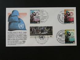 FDC Casques Bleus Prix Nobel De La Paix Nations Unies United Nations NY + Wien + Geneve 1988 Ref 101525 - FDC