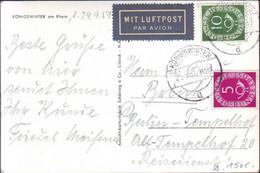 GERMANY - POSTHORN  AIRMAIL - KONIGSWINTER Am Rhein - 1951 - Covers & Documents
