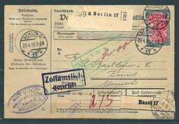 Paketkarte Deutschland - Schweiz - Oblitérés