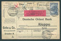Paketkarte Deutschland (Dresden) - Syrien (Aleppo) - Oblitérés