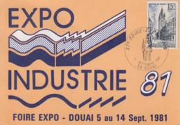 Carte  Maximum   FRANCE   37éme   Foire  Exposition   DOUAI    1981 - Gedenkstempels