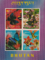 BOUTHAN - Faune, Papillons - Bloc Non Dentelé, Timbres Relief 3D - PA 30-33 - MNH - Bhutan