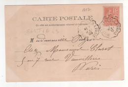 """Yvert N° 117 , Cachet Convoyeur Ligne  """" Boissy St Léger à Paris """" Ind 3 / CP , Carte Du 07/05/1903 De Nogent / Marne - Covers & Documents"""