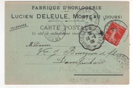 """Cachet Convoyeur Ligne  """" Morteau à Trévilliers """" Ind 6 / CP , Carte Du 13/06/1909 , Carte Commerciale Horlogerie - Covers & Documents"""