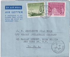 SEYCHELLES 1953 PLI AERIEN DE VICTORIA - Seychelles (...-1976)