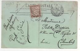 """Cachet Ambulant  """" Irun à Bordeaux 2° """" Ind 0 / CP , Carte Du 01/08/1908 , De Biarritz - Covers & Documents"""