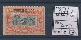 BELGIAN CONGO 1909 ISSUE COB 37L6 HEAVY HINGED CHARNIERE LOURDE - 1894-1923 Mols: Mint/hinged