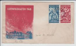 Brief Ludwigshafen Souvenir Cover Erinnerungsbrief Hilfswerk Ludwigshafen Plattenfehler 1948 - Covers & Documents