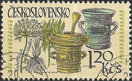 CZECHOSLOVAKIA 1971 Intl Pharmaceutical Congress. Medicinal Plants & Utensils - 1k.20 - Common Valerian & Pestle FU - Used Stamps