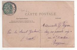 """Cachet Recette Auxilliaire Type 1884 """" Maisons Calvados """" N° 400 , Ind 2 Sur Cp , Carte Fantaisie Du 16/03/1906 - Covers & Documents"""