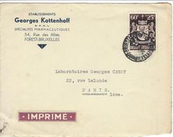 Fragment Enveloppe BELGIQUE Pub Georges Kottenhoff - Brieven En Documenten