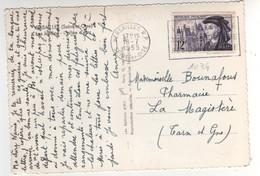 Timbre Yvert N° 1034, Jacques Coeur ,  Sur Cp , Carte Du 18/07/1955 De Versailles - Brieven En Documenten