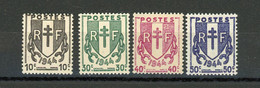 FRANCE - CHAINES BISÉES - N° Yvert 670/673** - 1941-66 Coat Of Arms And Heraldry