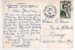 Timbre Yvert N° 936,  Laennec ,  Sur Cp , Carte Du 27/07/1955 De Mur De Barrez - Brieven En Documenten