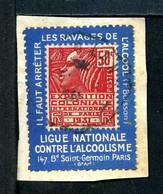 Fachi N° 272 Sur Porte Timbre LIGUE NATIONALE CONTRE L'ALCOOLISME N° 20 Yvert (livret De L'expert 2010) - Used Stamps