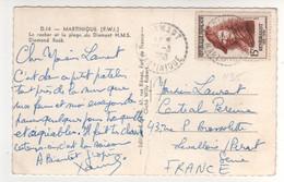 Timbre Yvert N° 1135 Rembrandt ,  Sur Cp , Carte Du 20/03/1958 De La Martinique , Pli Sur La Carte - Brieven En Documenten