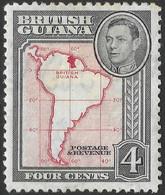 British Guiana. 1938-52 KGVI. 4c MH. P12½ SG 310 - British Guiana (...-1966)