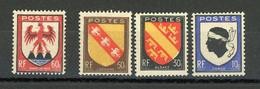 FRANCE - BLASONS - N° Yvert 755/758** - 1941-66 Coat Of Arms And Heraldry