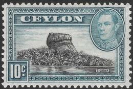 Ceylon. 1938-49 KGVI. 10c MH. Upright Mult Script CA W/M SG 389a - Ceylon (...-1947)