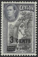 Ceylon. 1940-41 KGVI. Surcharge 3c On 20c MH. SG 399 - Ceylon (...-1947)
