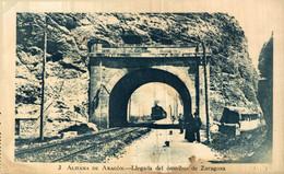 ZARAGOZA - ALHAMA DE ARAGÓN - LLEGADA DEL OMNIBUS - SOBRINO DE G. MAÑAS  ZARAGOZA ESPAÑA ETA VE SCAN - Estaciones Con Trenes