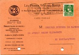 1936 Kaart 35c Van Les Phares Willocq - Bottin Bruxelles ( Eclairages ) Naar St. Nicolas - Mooie Zegel Met Stempel - 1932 Ceres And Mercurius