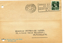1935 Kaart 35c Van E. Van HOPPLYNUS - DE COCK Bruxelles Naar St. Nicolas + Slogan - 1932 Ceres And Mercurius
