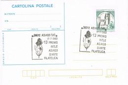 42080. Tarjeta Entero Postal ASIAGO (Vi) Italia 1983. Premio INTLE Artie Filateli, Flowers, Flores - 1981-90: Storia Postale