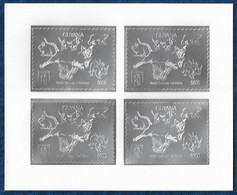 Guyana 1993 Cats Dogs Dinosaurs Butterfly Silver Sheetlet Of 4 Argent MNH** Rare - Preistorici