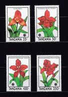 TANZANIE 1990 TIMBRES N°572/75 NEUFS** ORCHIDEES - Tanzania (1964-...)