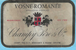 Etiquette-Vin De Bourgogne-Vosne-Romanée-Champy Père & Cie à Beaune (Côte-D'Or) - Bourgogne