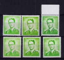 ROI BAUDOUIN ** / MNH 3,50  FR 6 Nuances Départ  0,89 - Unused Stamps