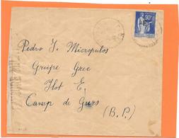 Lettre De GIMEL 30/12 /38 ( CORREZE ) Pour Le CAMP DE GURS - Groupe GREC - Censure Militaire - Guerre De 1939-45
