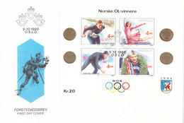 Norway FDC 1994 Lillehammer Olympic Games - Earlier Norwegian Gold Medal Winners Souvenir Sheet - From - Winter 1994: Lillehammer