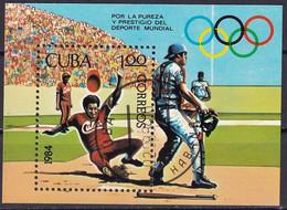 Kuba Block 84 Gestempelt, Sportförderung - Baseball - Blocks & Sheetlets