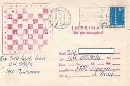 99232- POSTAL CODES SPECIAL POSTMARK ON CORRESPONDENCE CHESS SPECIAL POSTCARD, 1981, ROMANIA - Lettere