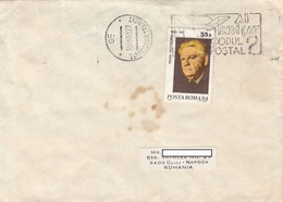 99254- POSTAL CODES SPECIAL POSTMARK ON COVER, MIHAIL SADOVEANU- WRITER STAMP, 1981, ROMANIA - Lettere