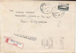 99257- HAPPY NEW YEAR SPECIAL POSTMARK ON REGISTERED COVER, SHIP STAMP, 1981, ROMANIA - Lettere